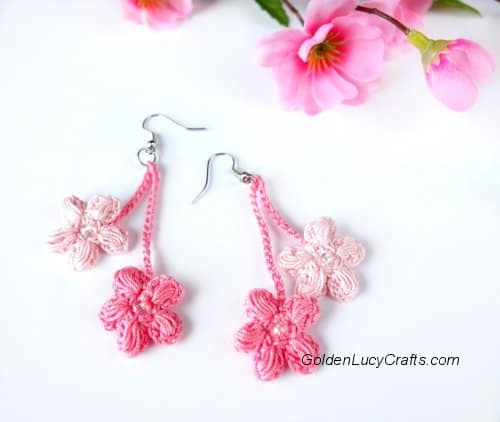 Crochet Earrings Cherry Blossom DIY