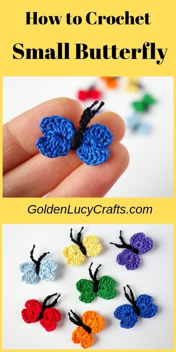 Crochet small blue butterfly, butterflies in colors of rainbow.