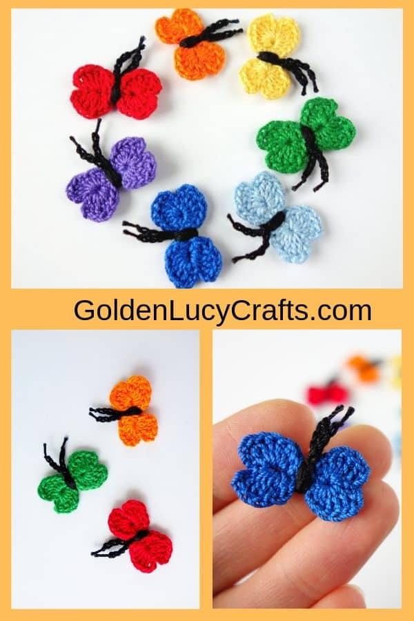 Crochet butterflies, pictures collage.
