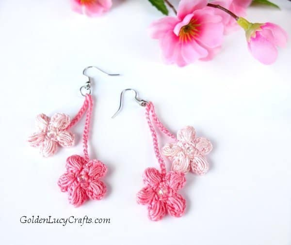 Crochet earrings DIY, cherry blossoms