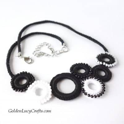 Black and white crocheted necklace.