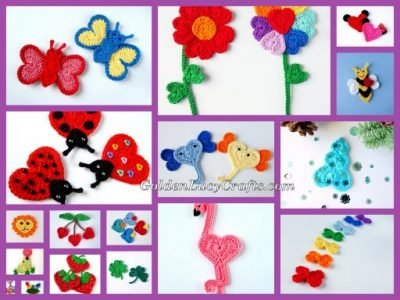 Crochet heart shaped appliques