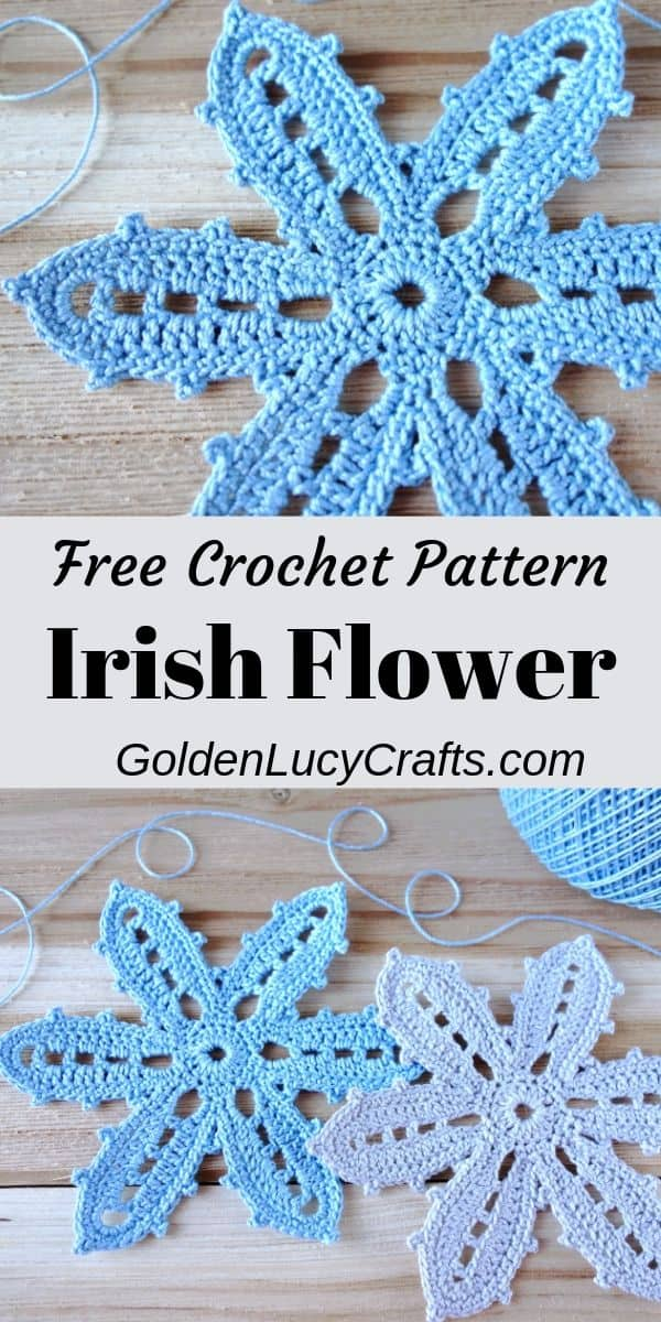 Crochet Irish Flower, Irish lace motif, free crochet pattern