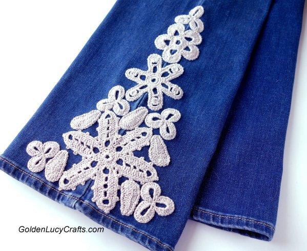 Crochet Jeans Embellishment DIY, jeans decoration