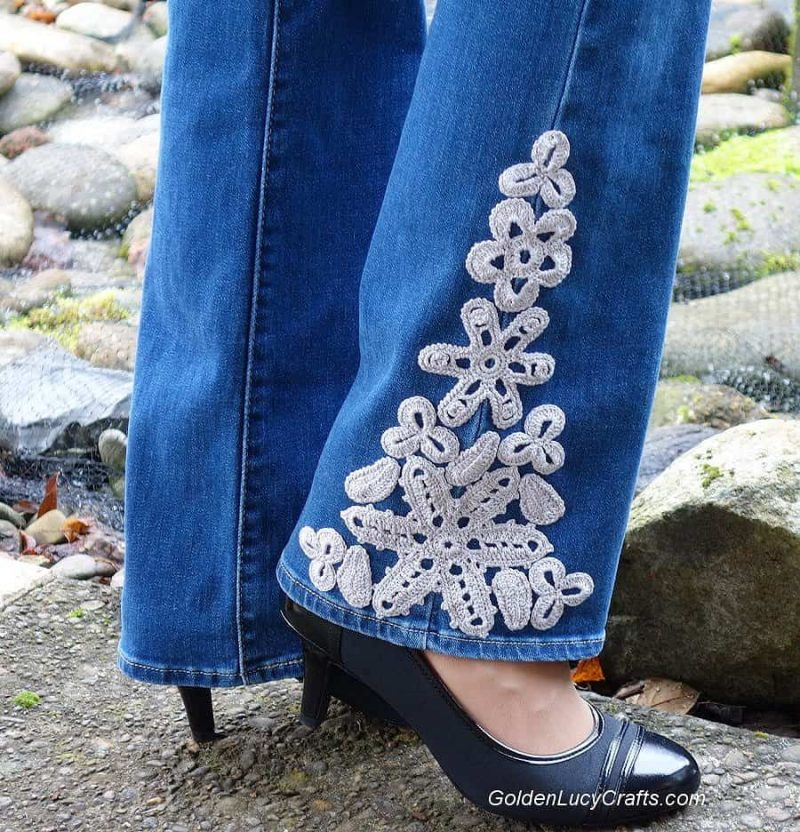 Crochet Jeans Embellishment idea, DIY, inspiration