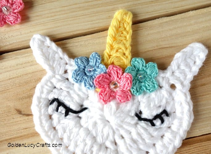 Crochet Unicorn Applique Free Crochet Pattern GoldenLucyCrafts Enchanting Unicorn Crochet Pattern