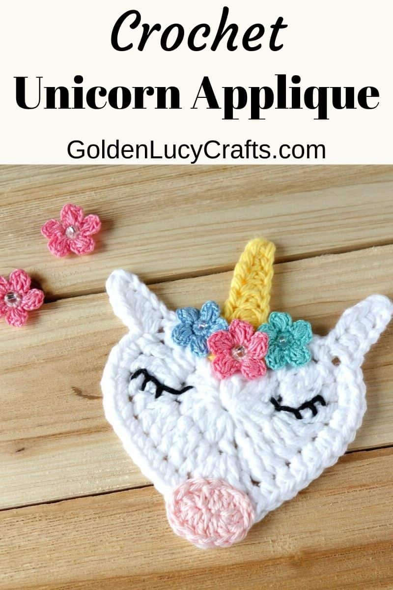 Crochet unicorn applique, heart unicorn, free pattern