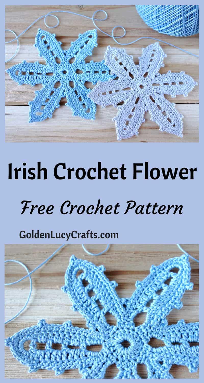 Irish Crochet Flower Irish Lace Irish Crochet Motif Goldenlucycrafts