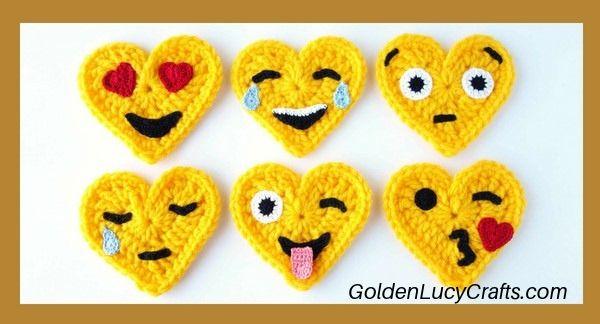 Crochet Emoji, heart emojis, crochet pattern