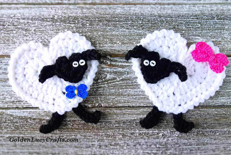 Crochet sheep applique, free crochet pattern