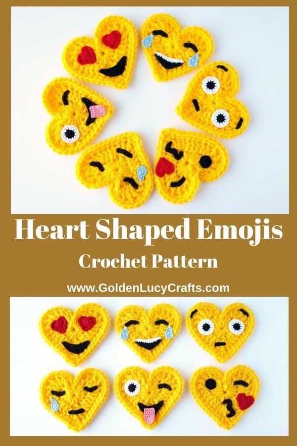 Crochet emojis, heart emojis, crochet pattern