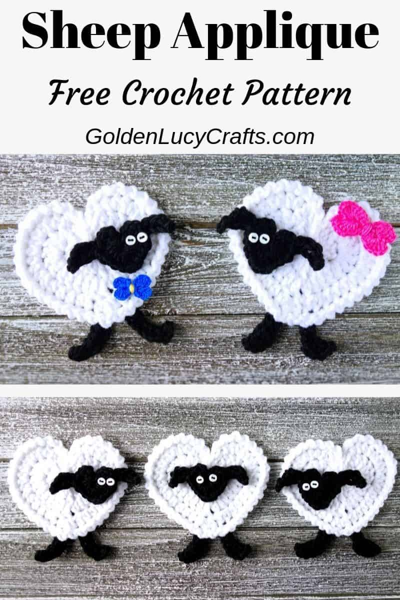 Crochet sheep applique, heart-shaped, free crochet pattern