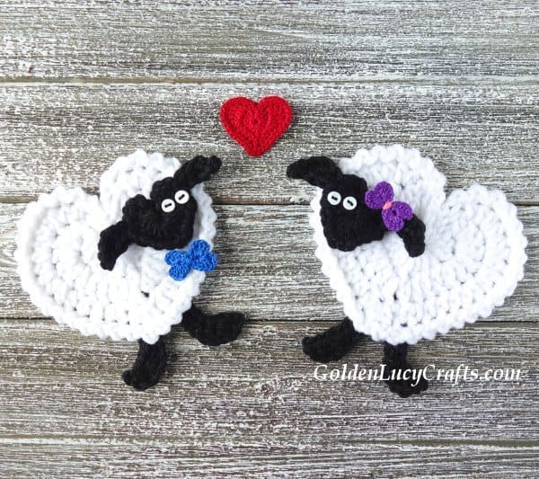 Crochet sheep applique, heart-shaped sheep, free crochet pattern, Valentine's Day
