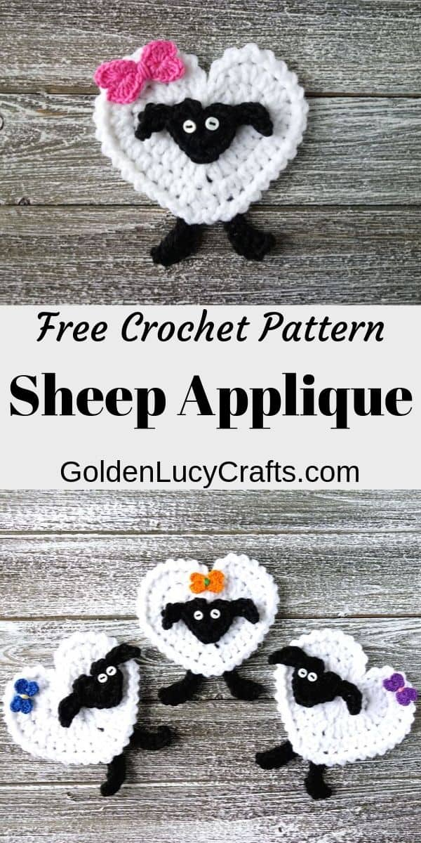 Crochet sheep applique, heart sheep, free crochet pattern, Valentine's Day