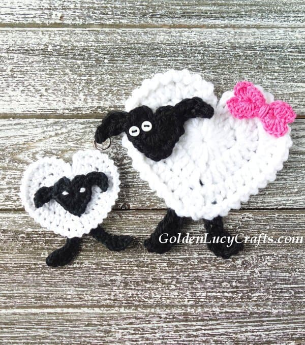 Crochet sheep applique, heart sheep , free crochet pattern, Valentine's Day, Easter