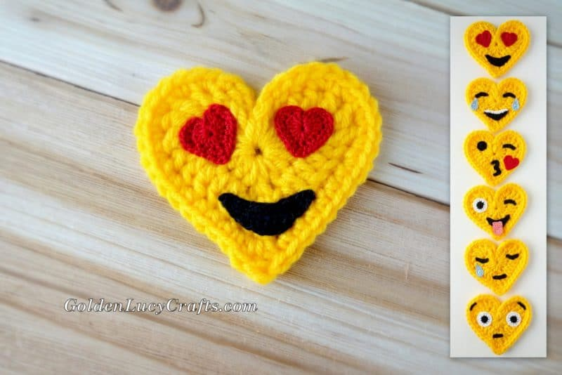 Crochet Emoji, Heart Eyes, Free Crochet Pattern, Valentines Crochet ...