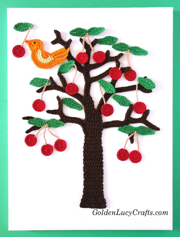 Crochet Cherry tree and a bird