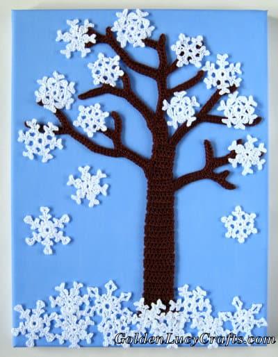 Crochet Winter Tree wall art
