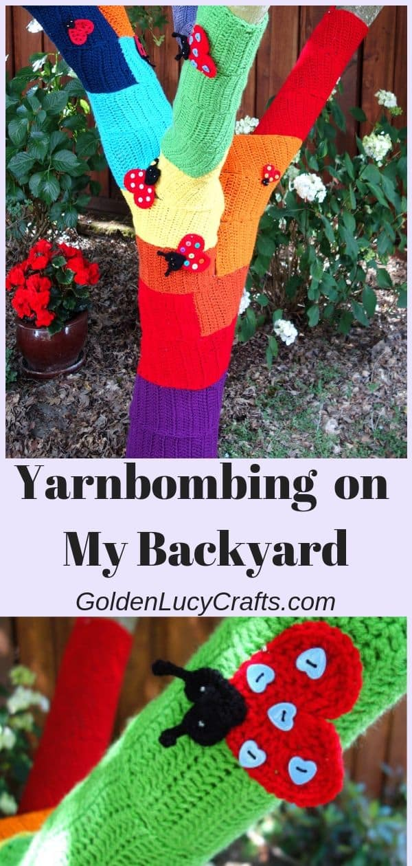Yarn bombing on my backyard, crochet tree, ladybug tree