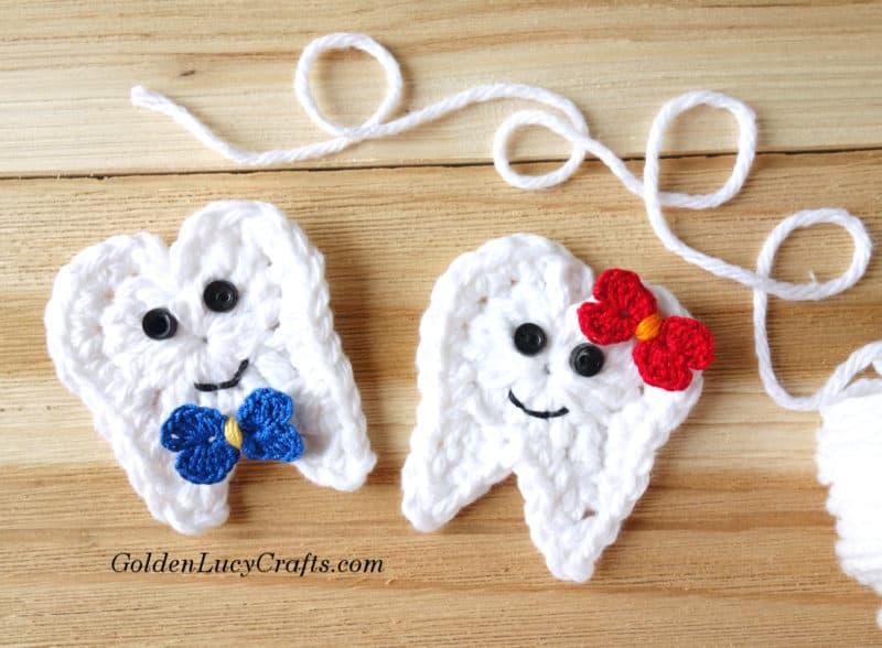 Crochet Tooth Pattern, Goldenlucycrafts