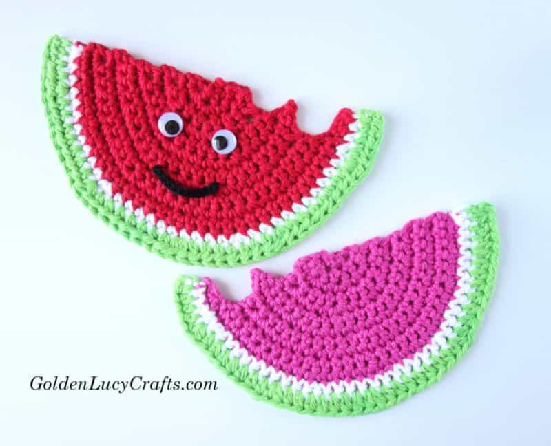 Crochet Watermelon Coaster, watermelon applique