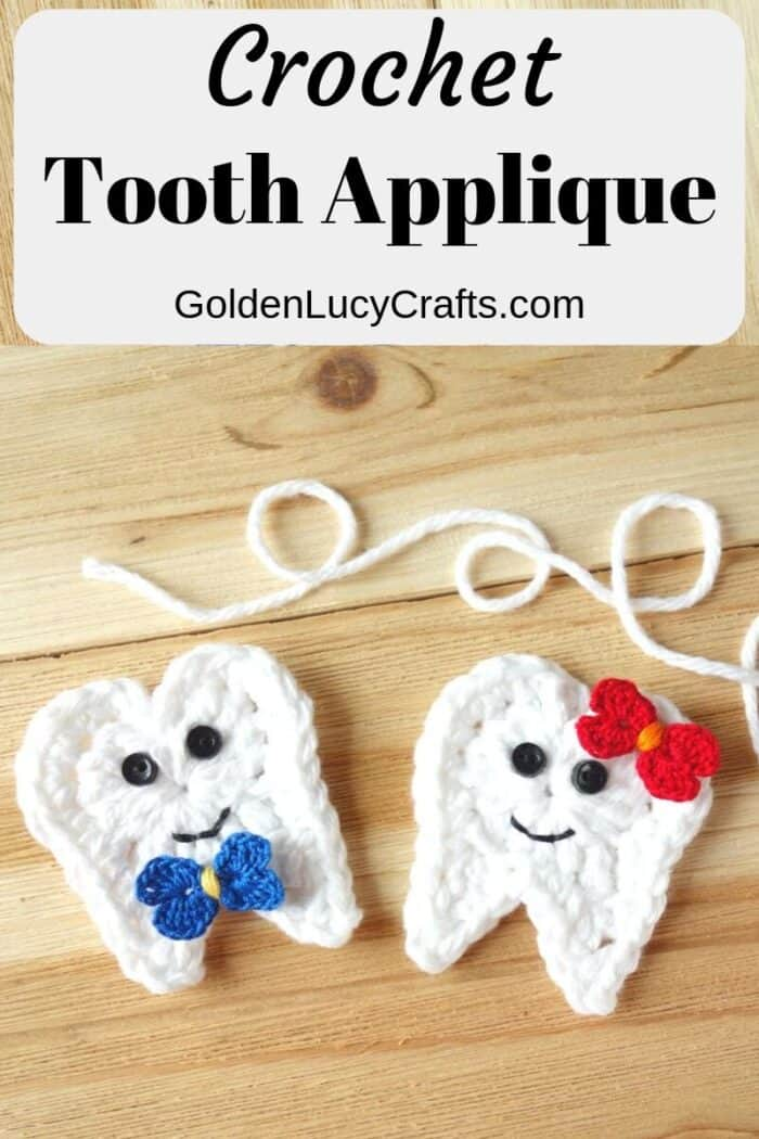 Crochet tooth applique, free crochet pattern