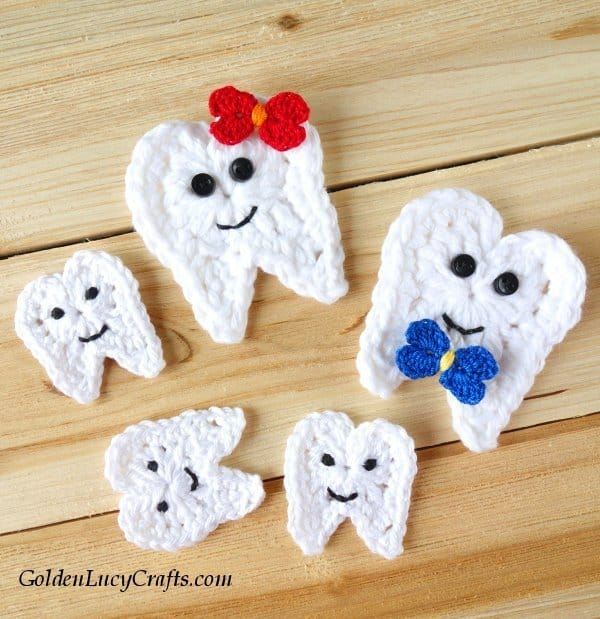 Crochet tooth applique, tooth fairy, free crochet pattern