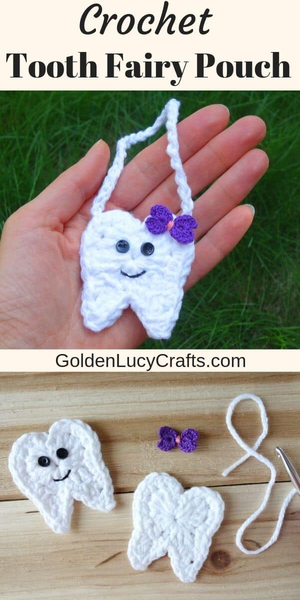 Crochet tooth fairy pouch, free crochet pattern