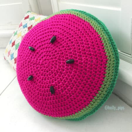 Watermelon Cushion - part of Watermelon free crochet pattern roundup