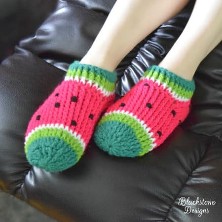 Watermelon Slippers - part of Watermelon free crochet pattern roundup