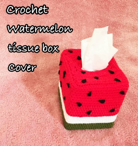 Watermelon tissue box cover- part of Watermelon free crochet pattern roundup