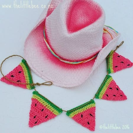 watermelon bunting - part of Watermelon free crochet pattern roundup