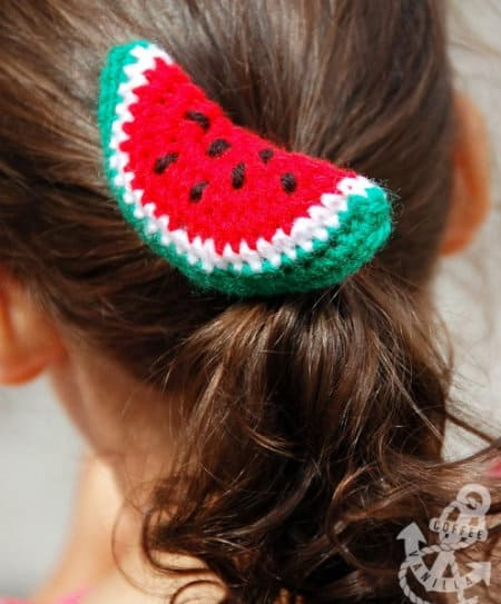 watermelon-hair-accessories-part of Watermelon free crochet pattern roundup