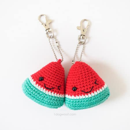 watermelon pattern keychain-part of Watermelon free crochet pattern roundup