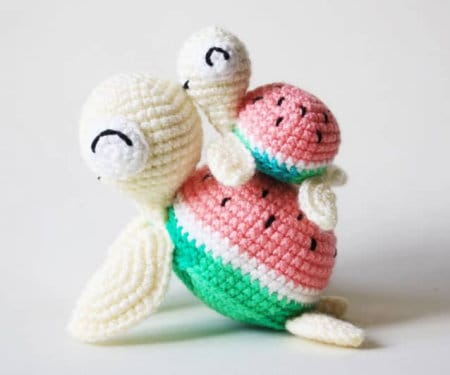 watermelon-turtles-amigurumi-part of Watermelon free crochet pattern roundup