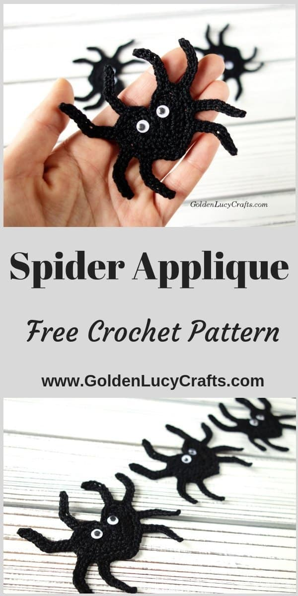 Crochet Halloween spider applique, heart-shaped spider