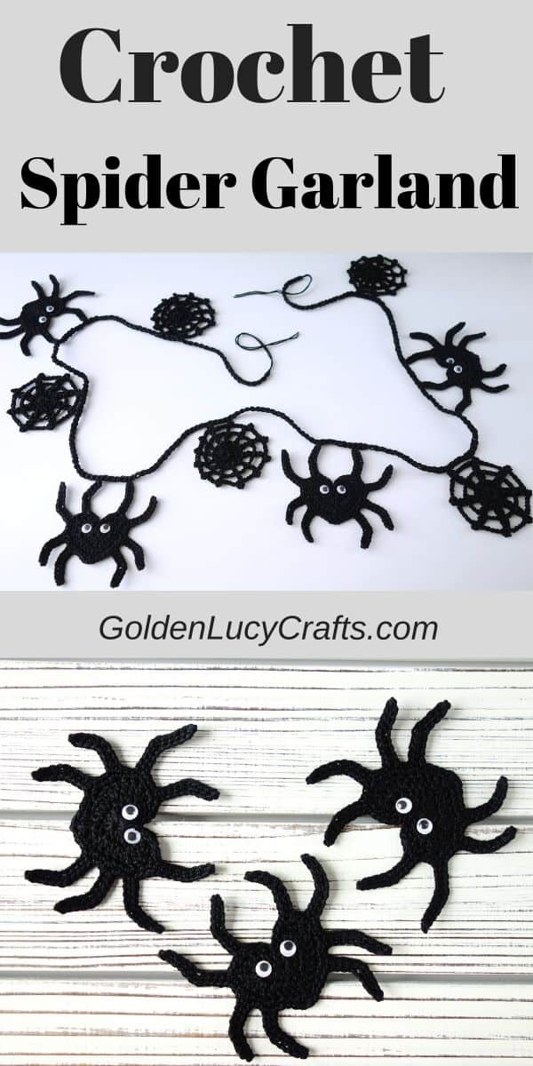 Crochet spider garland, crochet Halloween decorations