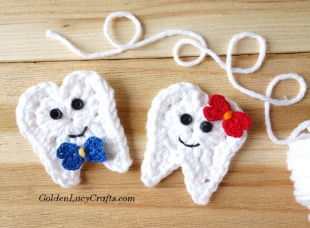free crochet tooth patterns roundup - tooth applique