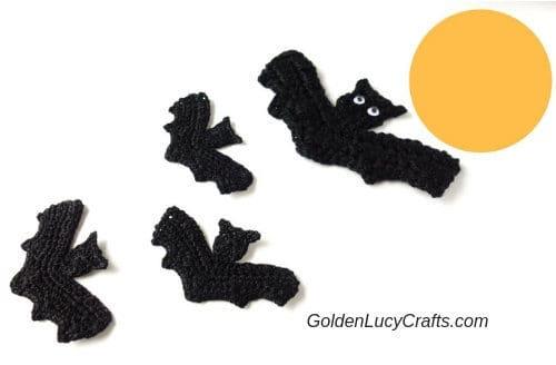 Crochet bat appliques