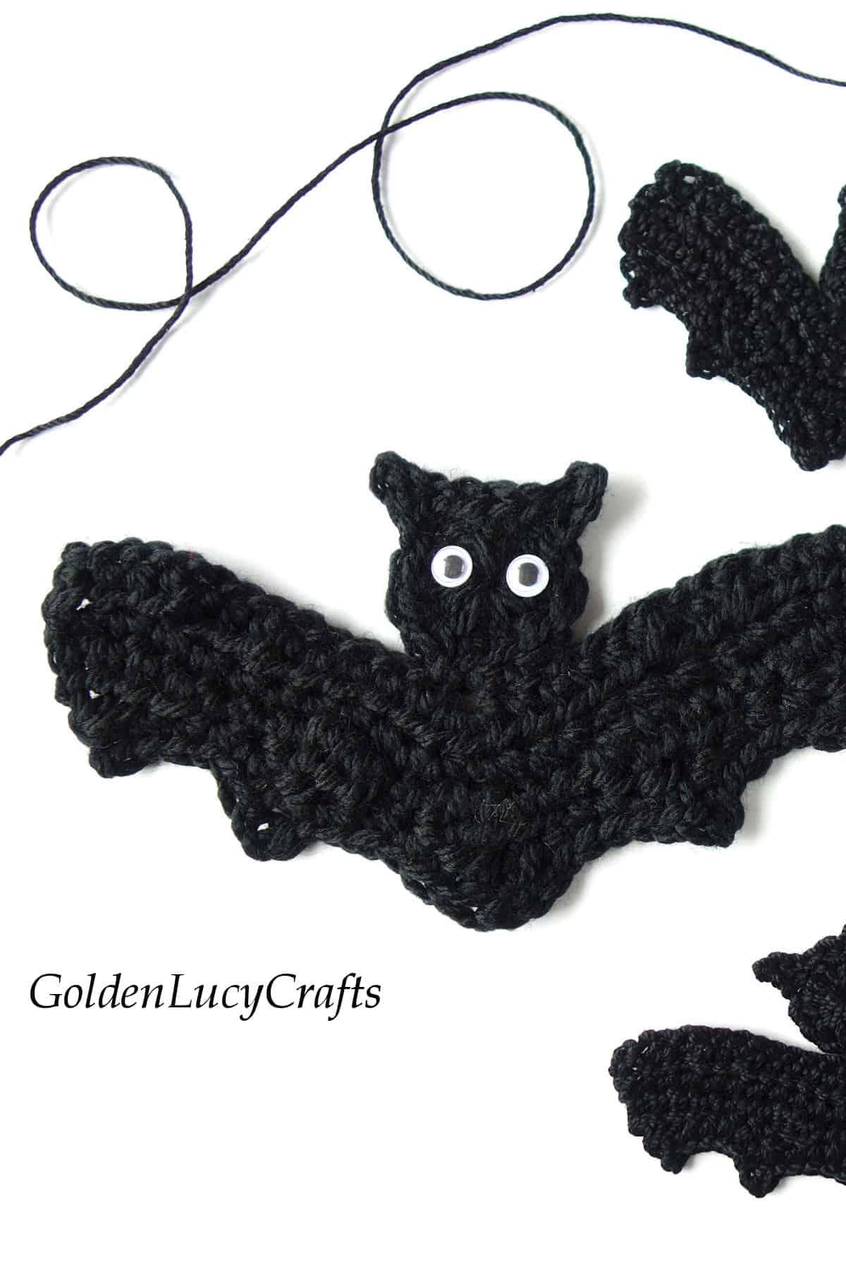 Bat applique, close up picture.