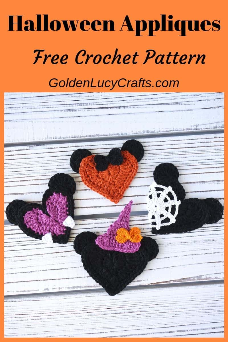 Crochet Halloween appliques, decorations