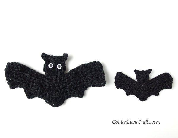 Crochet bat for Halloween, applique, free pattern