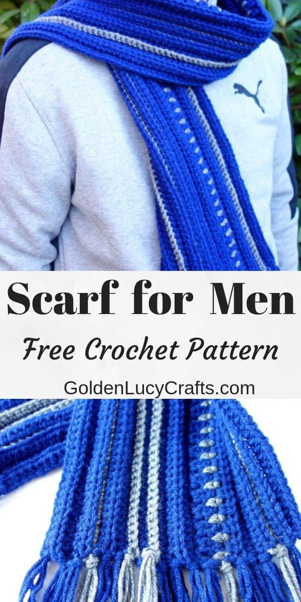 Crochet scarf for men, free pattern