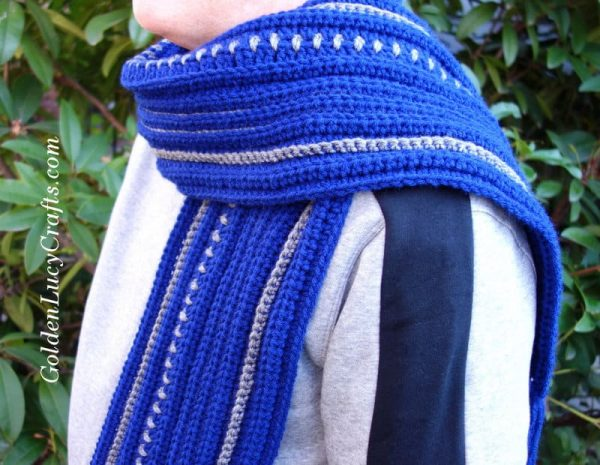 Crochet winter scarf for men, free pattern