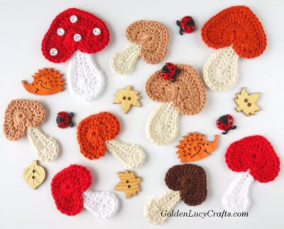 Crochet mushroom appliques, craft buttons - leaves, hedgehogs and ladybugs.