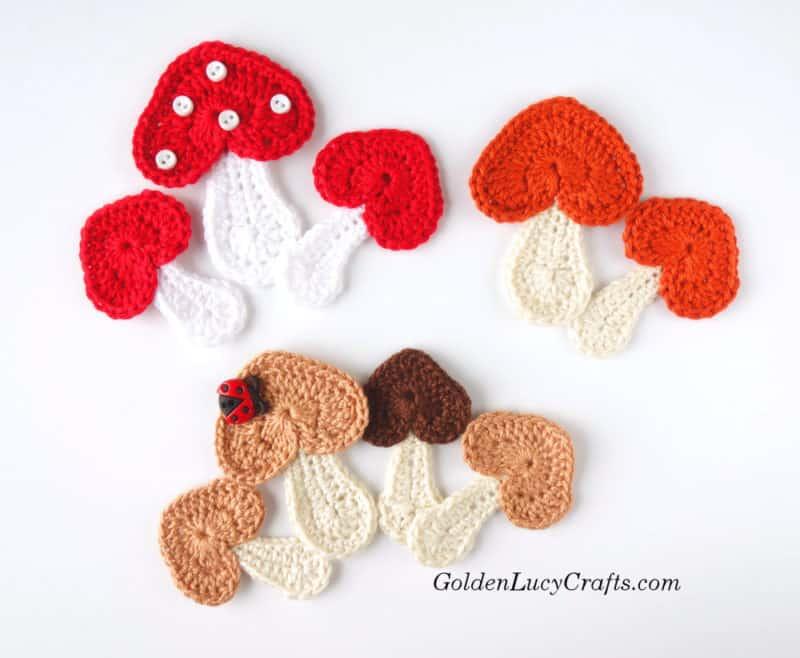 Crochet Mushroom applique free pattern, heart-shaped