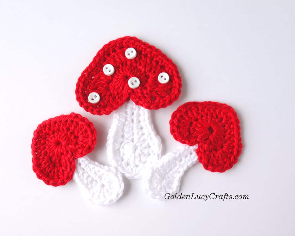 Crochet Mushroom, heart-shaped, crochet pattern free