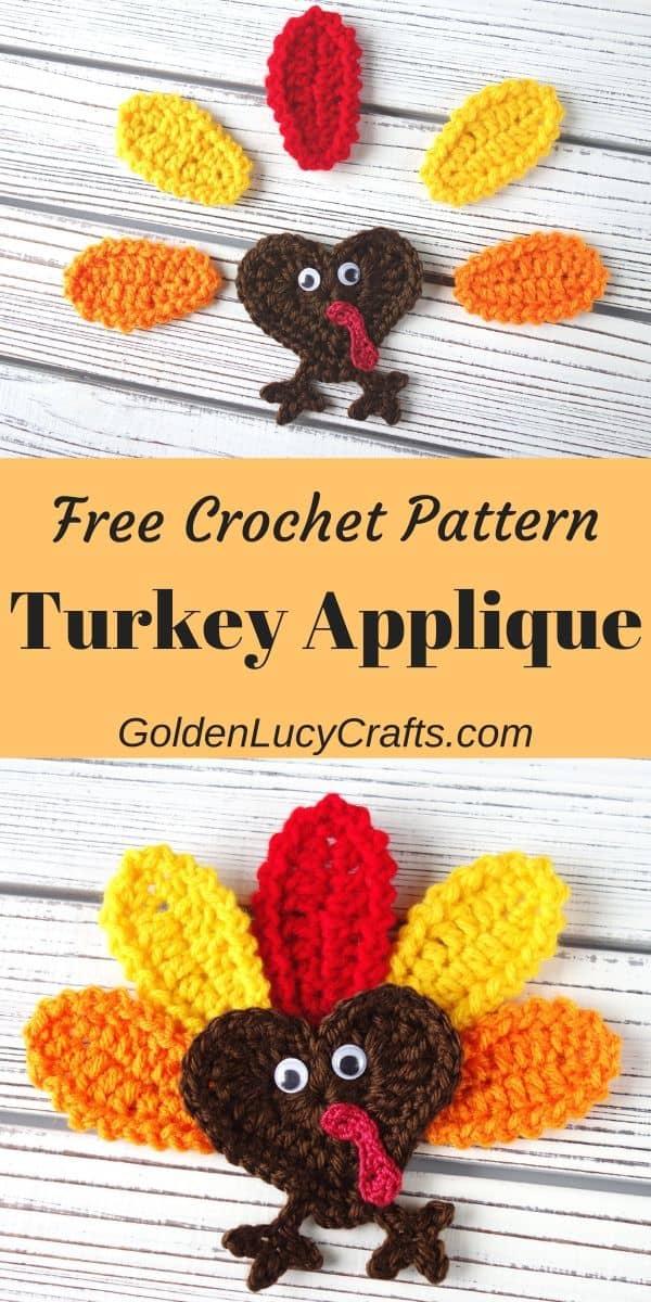 Crochet Thanksgiving turkey, heart-shaped turkey, free crochet pattern