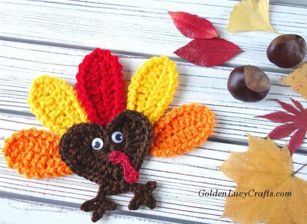 Crochet Turkey applique, Fall leaves, chestnuts