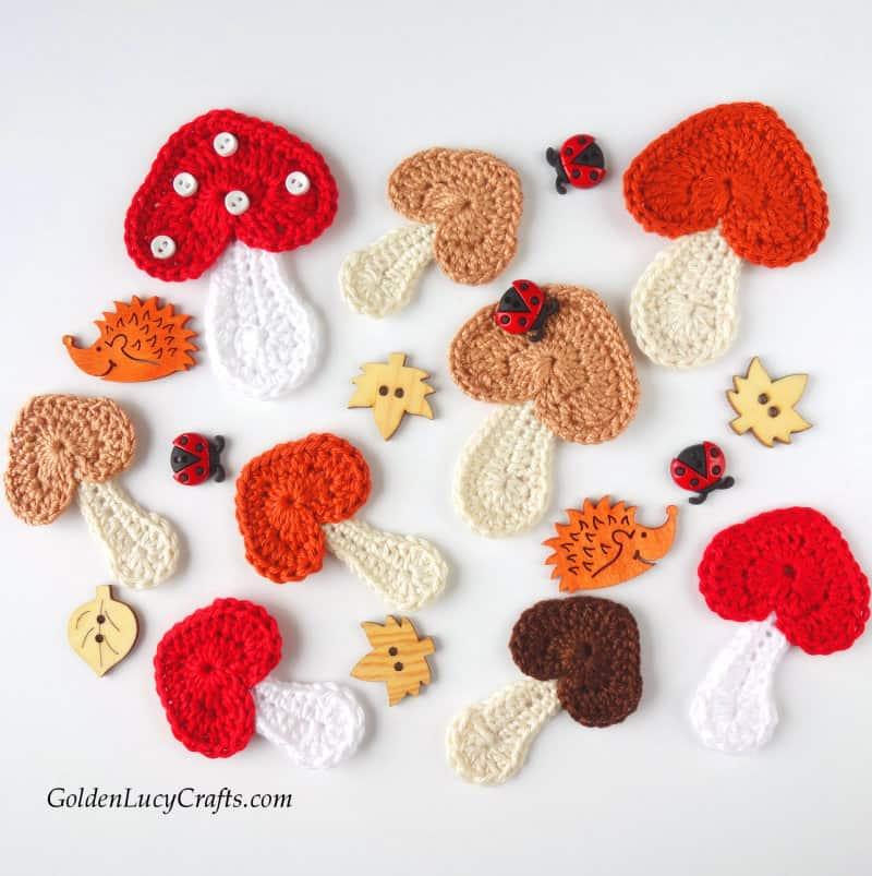 Crochet mushroom applique, heart mushroom, free pattern